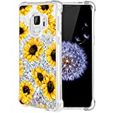 Caka Galaxy S9 Case, Galaxy S9 Floral Glitter Case Flower Pattern Series Luxury Fashion Bling Flowing Liquid Floating Sparkle Glitter Soft TPU Case for Samsung Galaxy S9 (Sunflower)