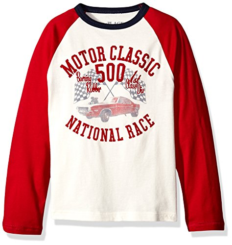 The Children's Place Big Boys' Long Sleeve Raglan Graphic Top, Classic Red, (Medium Long Sleeve Top)