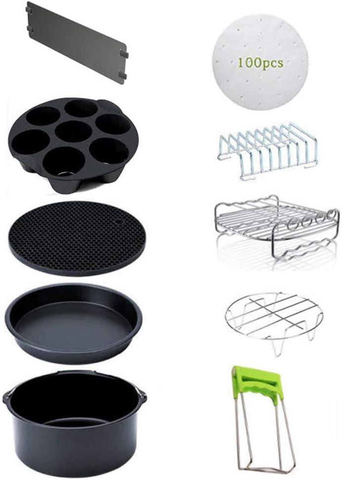 CMJLBM 10PCS 8 Inch Air Fryer Accessories for 5.3-5.8QT Cake Barrel, Mat, Pizza Pan, Steel Skewer Rack, Holder, Bread Shelt, Cupcake Pan, Dish Plate Clip, Baking Paper, Partition Plate (8INCH 10PCS)