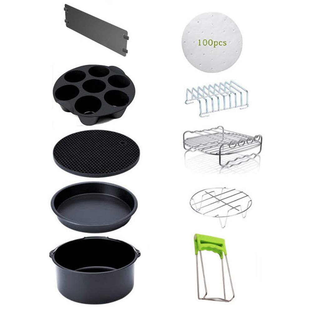 CMJLBM 10PCS 8 Inch Air Fryer Accessories for 5.3-5.8QT Cake Barrel, Mat, Pizza Pan, Steel Skewer Rack, Holder, Bread Shelt, Cupcake Pan, Dish Plate Clip, Baking Paper, Partition Plate (8INCH 10PCS)