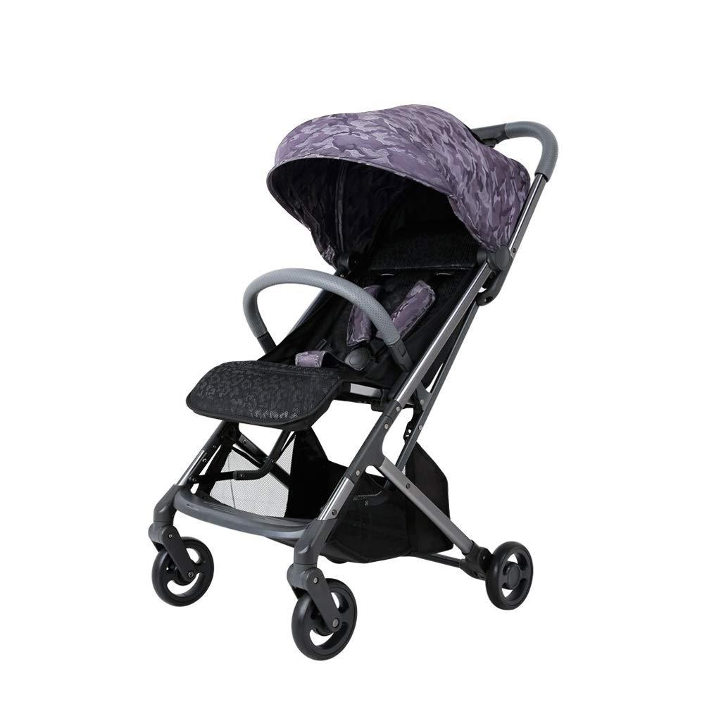 MILU ベビーカーは、持ち運びが簡単で、デザインが簡単で、平面上に簡単に折り畳むことができます、新生児用ベビーカーは、横向きの高地用ベビーカーを座らせることができます。 (色 : 紫の)  紫の B07Q8KW397