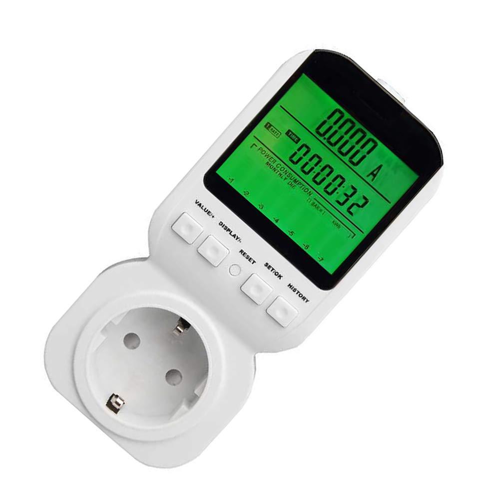 hll-036 Electricidad Monitor de Uso UE Enchufe del Medidor de Potencia Energ/ía Vatio Voltaje Medidor de Amperios con Digital LCD Monitor