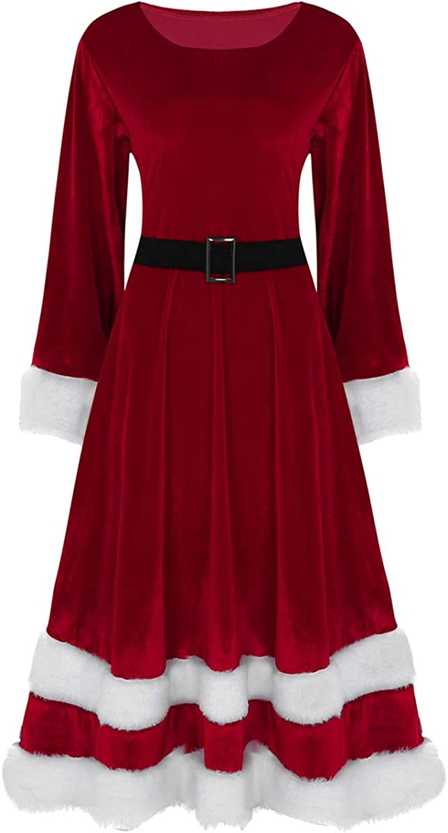 ACSUSS Womens Soft Limited time for free shipping Velvet Santa Christmas Claus Costume Cosplay At the price of surprise