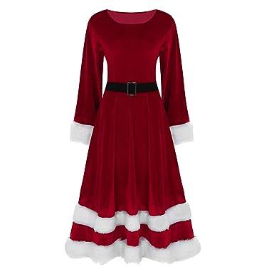 Agoky Traje de Navidad Mujer Vestido Largo de Princesa Manga Larga Disfraz de Papá Noel Fiesta Adulto Elegante Cosplay Santa Claus Christmas Dress ...