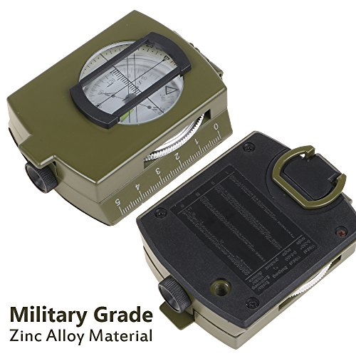 Traveler's Compass | Sighting Pounch Grade Zinc Alloy Professional Compass for Adventure with Supreme Accuracy, Superb Magnifying Glass, Mapping Ruler, and Clear Reading Scale | Army Green | 355