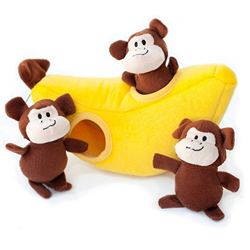 ZippyPaws - Zoo Friends Burrow, Interactive Squeaky Hide and Seek Plush Dog Toy - Monkey 'n Banana