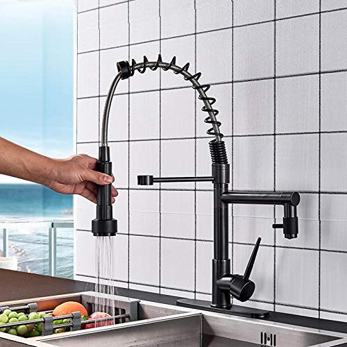 (Gold Coast Market Blackend Spring Kitchen Faucet Pull Out Side Sprayer Dual Spout)