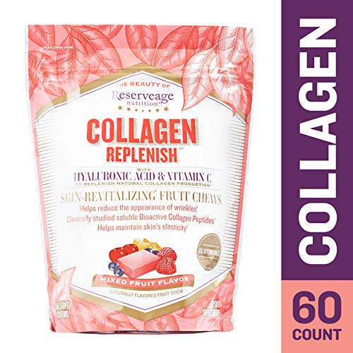 Reserveage - Collagen Replenish Chews, Supports Natural Collagen Production, Hydration, and the Reduction of Wrinkles and Fine Lines with Hyaluronic Acid and Vitamin C, Gluten Free, 60 Count