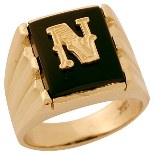 (14k Solid Gold Rectangle Onyx Fancy Letter N Modern Mens Initial Statement Ring)
