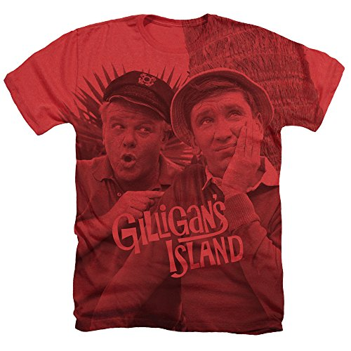 Trevco Gilligan's Island Gilligan and The Skipper Unisex Adult Sublimated Heather T Shirt For Men and Women