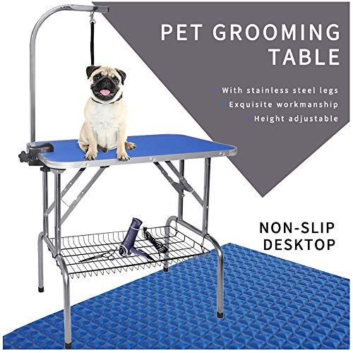 """LEIBOU Pet Dog Grooming Table Foldable Grooming Table Heavy Duty Stainless Steel Frame with Arm & Noose & Mesh Tray for Dog Cat Pet Grooming Blue(32″ x 20″ x 30"""")"""