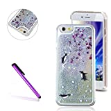 iPhone 6/6S Case,EMAXELER 3D Quicksand Brilliant Liquid Luxury Liquid Floating Bling Moving Star Hard Protective Case for iPhone 6(2014 Release)/6S(2015 Release) + Stylus Pen--Three Penguins