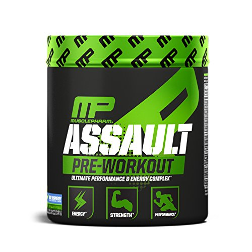 MusclePharm Assault Pre-Workout Powder, Pre-Workout Creatine for Energy, Focus, Strength, and Endurance with Creatine, Taurine, and Caffeine, Blue Raspberry, 30 Servings