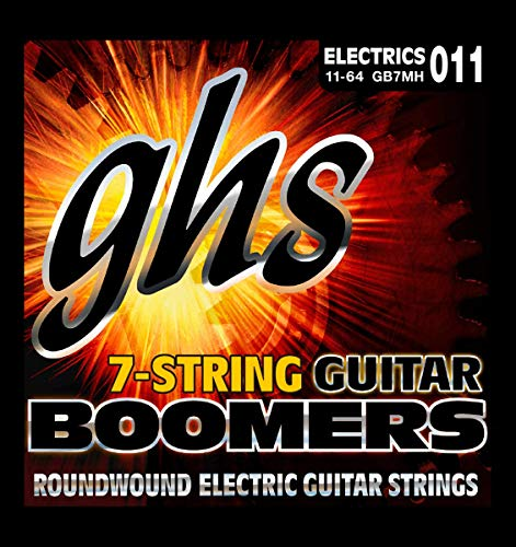 GHS Boomer 7 String Medium Heavy Electric Guitar Set (11-64) (Difference Between 6 String And 7 String Guitar)