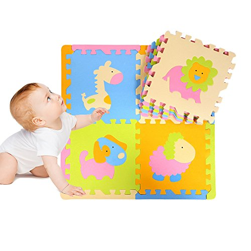 DKY Puzzle Play Mat,Soft Baby Floor Mat 9 Tiles with Vibrant animal images for Children's Playrooms - Foam Play Mats 12