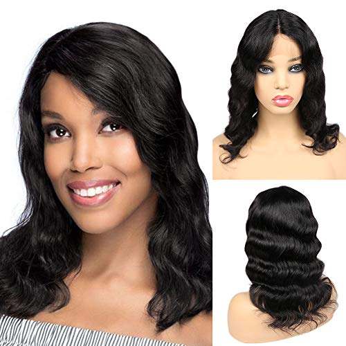 Brazilian Human Hair Lace Front Wigs Glueless Virgin Human Hair Wig Loose Deep Wave Natural Color Short Wavy Lace Wigs For Black Women 14 Inches