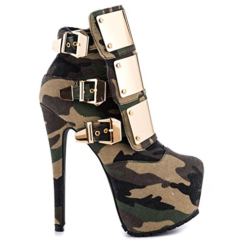 Boots Autumn Heel NVXIE Ladies Button Spring Ankle CAMOUFLAGE EUR38UK55 High Metal Camouflage Winter Stiletto Women Leather Waterproof Short Shoes WqRIZ
