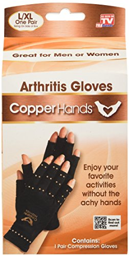 Copper Hands Fingerless Compression Gloves by BulbHead, Provides Relief from Joint, Tendon, & Muscle - Glove Hand