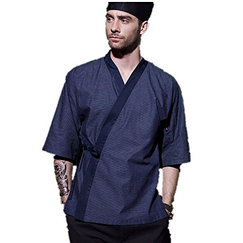 XINFU Japanese Kimono Short Sleeve Chef Kitchen South Korean Cooking Clothes Cook Clothes Korean Summer Dress Chef's Work Clothes by XINFU (Image #2)