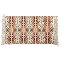 OJIA Reversible Bohemia Series Tassel Cotton Rug, Hand Woven Solid Mat with Non Slip Pad for Bedroom, Living Room, Kitchen, Laundry Room Entryway or Throw Blankets for Sofa - 24 x 36 Inch, Vertical