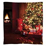 iPrint Super Soft Throw Blanket Custom Design Cozy Fleece Blanket,Christmas,Xmas Scene with Decorated Luminous Tree and Gifts by the Fireplace Artful Image,Red Yellow,Perfect for Couch Sofa or Bed