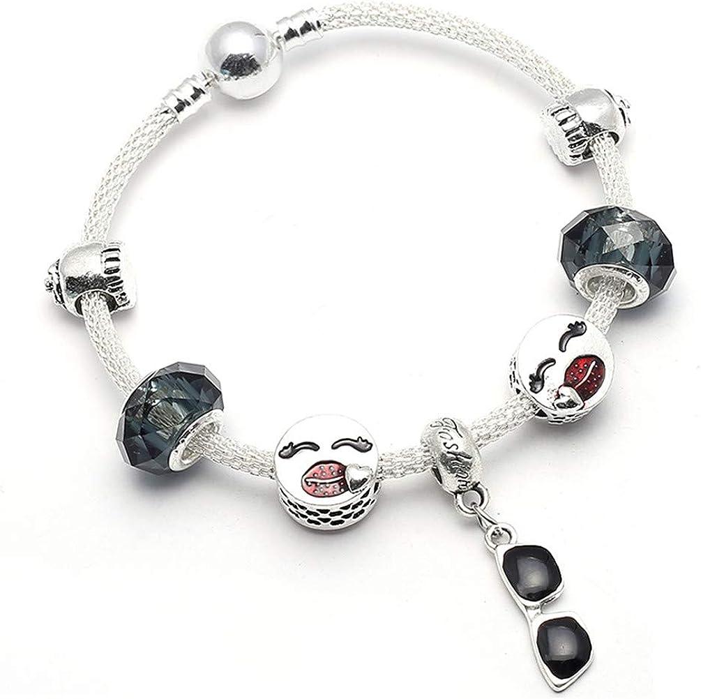TZNGYSP Women Glass Charm Bracelets /& Bangles Fit Charm Beads Bracelet /& Bangles Party Jewelry