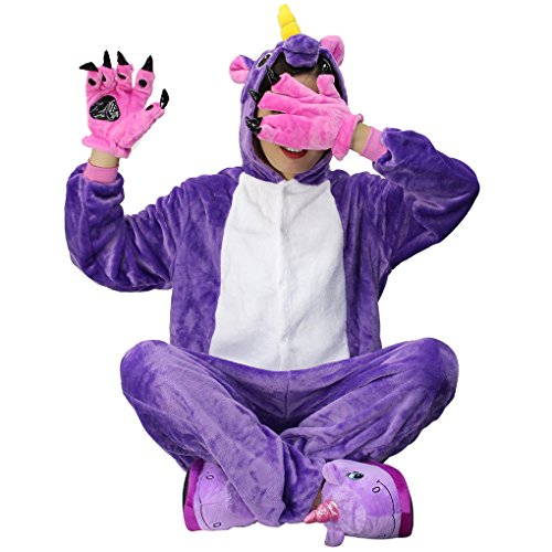 Carnevale Halloween Anime Purple Costume Pigiama Animale Regalo di Cosplay InteroTuta Adulto Natale Party Onesie Unisex Compleanno Unicorn Kigurumi di Landove Animali Unicorno Xqzxpvv