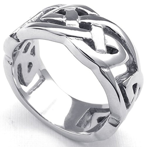 [Bishilin Stainless Steel Fashion Men's Rings Classical Celtic Knot Silver Width 10mm Size 9] (His And Her Costumes 2016)