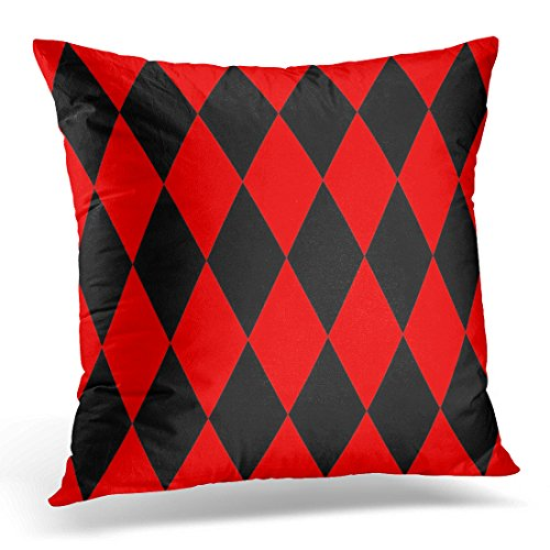 Golee Throw Pillow Cover Harlequin Black and Red or Pattern Abstract Baby Decorative Pillow Case Home Decor Square 18x18 Inches (2 Pierrots Halloween)