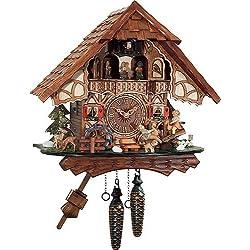 Quartz Cuckoo Clock Black forest house, turning mill-wheel, moving seesaw