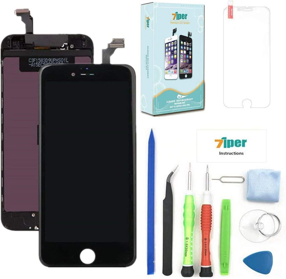 Screen Replacement for iPhone 6 (4.7 inch) - LCD Display Touch Screen Digitizer Frame Replacement Full Assembly with Tempered Glass, Repair Tools Kit and Instructions (Black)
