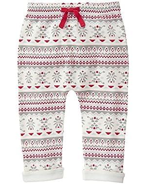 Baby Girls' Red and Grey Fairisle Legging