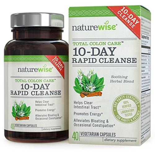NatureWise 10 jours Rapid nettoyer pour la santé du côlon, Detox, plus d'énergie & moins ballonnements, 40 Caps