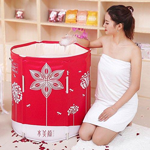 Red Folding Bath Tub Bath Tub Adult Bathtub Tub Tub Inflatable Bathtub Size 6570cm by LITINGMEI Bathtub