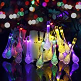 Dcoo Solar Powered Waterdrop String Lights for Outdoor Patio Lawn Landscape Garden Home Wedding Holiday and Christmas decorations[19.7feet - 6m - 30LED-Multi Color]