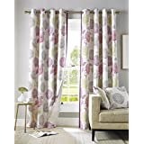 Pink, Green, Grey and Cream Floral Curtain Pair Contemporary Design Fully Lined Eyelet Header, 117 x 183 cm (46 x 72) by Homescapes