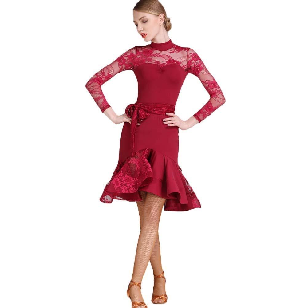おすすめネット ラテンダンスのドレス女性の大人の国家標準のダンスドレスレーススプライス長袖ハイネックアートコンテストコンペティションダンス衣装 レッド B07QH5QLVZ S s|レッド レッド B07QH5QLVZ S s|レッド s, 北上町:1d6c1e09 --- a0267596.xsph.ru