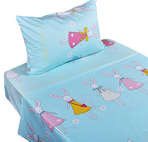 J-pinno Dress Rabbit Twin Sheet Set for Kids Boys Girls Children,100% Cotton, Flat Sheet + Fitted Sheet + Pillowcase Bedding Set