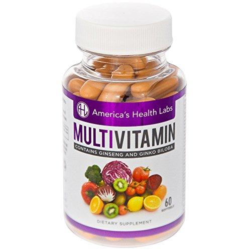 Америки Здоровье Labs Мультивитаминный с витамином С, женьшень и гинкго билоба. Мощный один-день Формула, обеспечивающих существенное Ежедневные витаминов. 60ct мягкие гели.