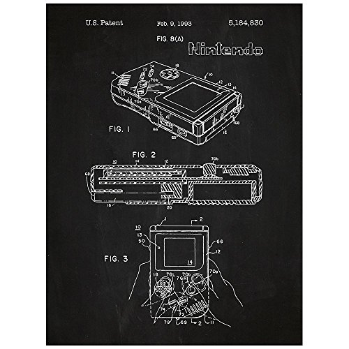 Inked and Screened Nintendo Game Boy Design Patent Art Poster Silk Screen Print, 18' L x 24' H, Chalkboard