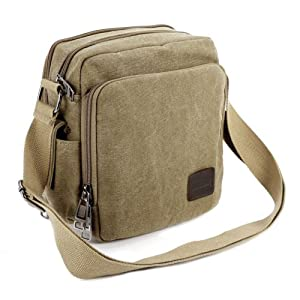 The Pecan Man Brown Vintage Canvas Messenger Shoulder Bag Travel Hiking Satchel Military Shoulder Bag