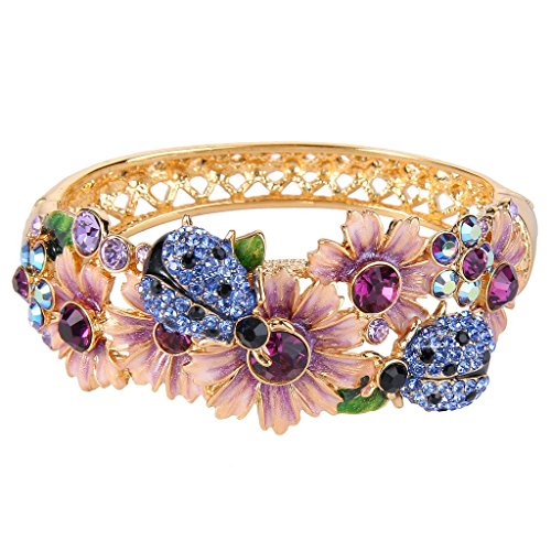 EVER FAITH Women's Austrian Crystal Enamel Flower Beetle Bangle Bracelet Purple Gold-Tone