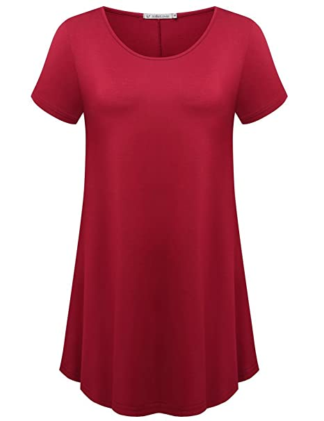 4acc85d4275 JollieLovin Women's Short Sleeve Loose Fit Flare Hem T Shirt Tunic Top  (Wine Red,
