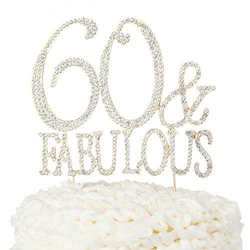 Ella Celebration 60 & Fabulous Cake Topper 60th Birthday Decoration (Print - Gold)