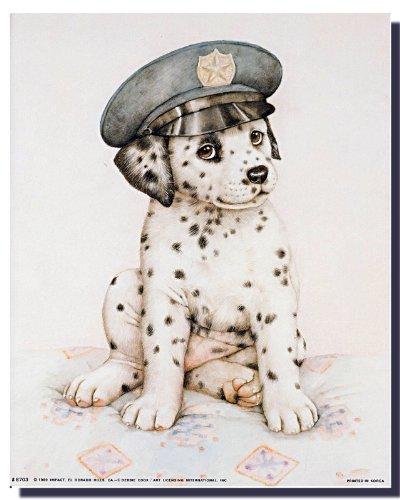 Cute Dalmatian Puppy Police Pup Kids Room Wall Decor Art Print Poster