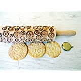 Rolling pin CLOCKS and GEARS. Wooden embossing rolling pin with gears pattern. Embossed cookies. Pottery. Birthday gift.