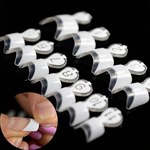 12 Sizes White French Fake Nail Art Tips 24pcs/kit Short Wrap Edge Armor DIY Acrylic False Nails Manicure Accessories Tool N210