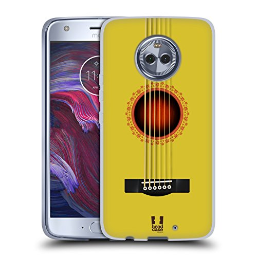 Head Case Designs Yellow Acoustic Guitar Soft Gel Case for Motorola Moto X4