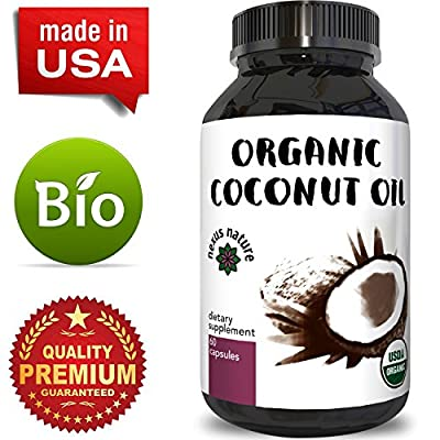 100% Pure Coconut Oil Capsules for Skin and Hair Organic Fatty Acids for Men and Women Fat Burning Weight Loss Pills Boost Energy Metabolism and Immunity Anti-Aging Dietary Supplement by Nexus Nature