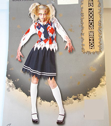 Zombie School Girl Adult Costume Top Skirt 8-10 NWT